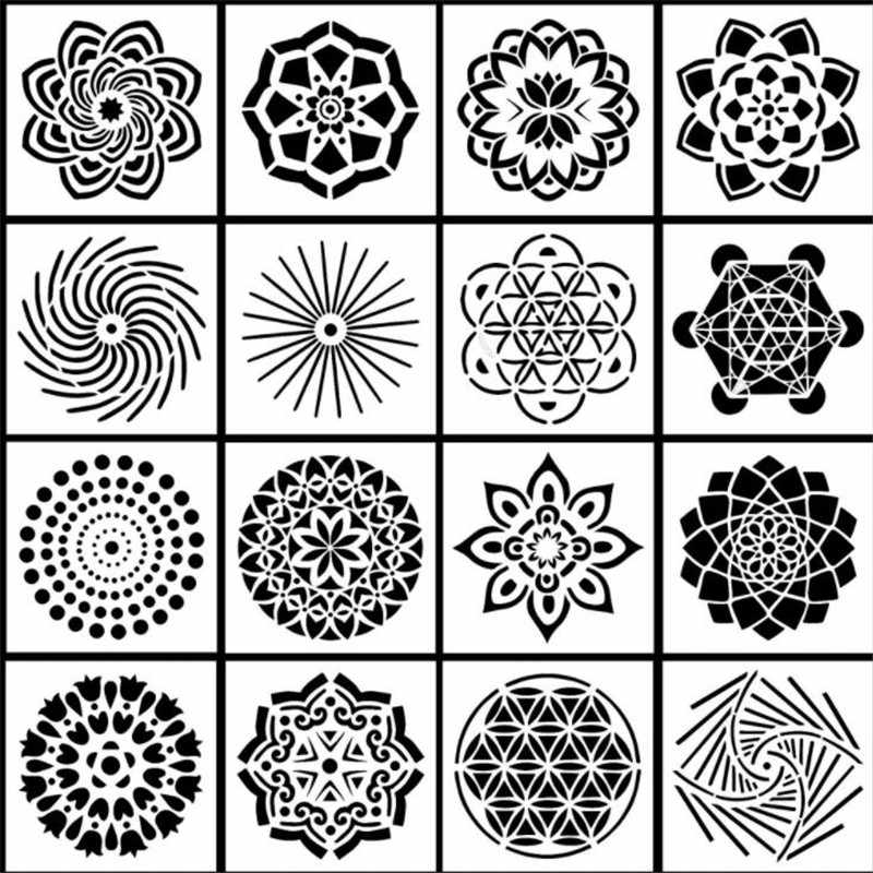 16 Adet Mandala Susleyen Araclari Sablonlari Sablon Seti Diy