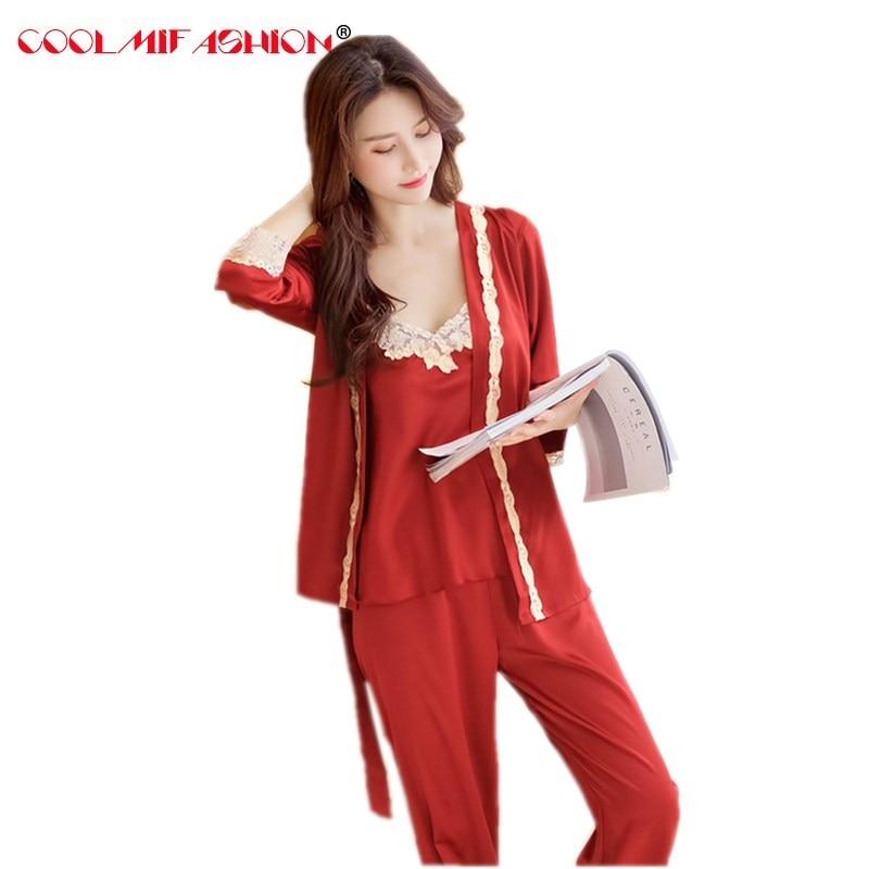 3 Pcs Full Pant Suit Set Plus Size 2XL Satin Silky Silk Women Pajamas Outfit Shirt + Sleep Strap Camis + Elastic Waist Trouser