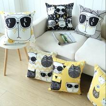 Cartoon Nordic cat pillowcase Car cushion ins wind office sofa bedroom cute pillow Home decoration 45x45cm
