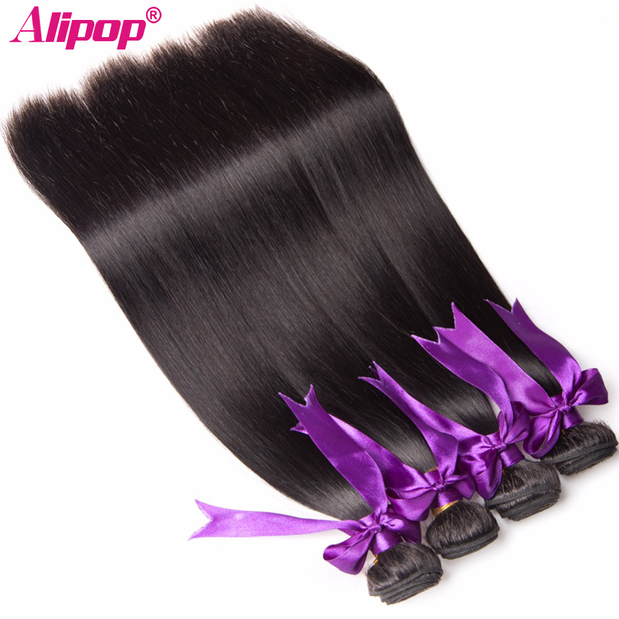 Peruvian Straight Hair Bundles Human Hair Bundles Remy Human Hair Extensions 4 PCS ALIPOP Natural Color Weave No Shedding