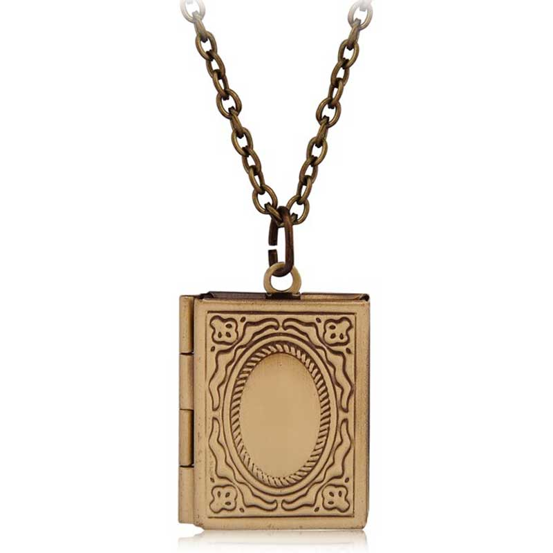 Vintage Style Delicate Imitation Book Locket Necklace Secret Hiding Place Photo Locket Librarian Necklace Jewelry Photos Box