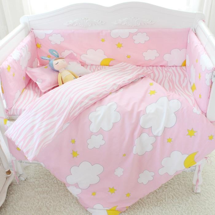 ФОТО 7 Pcs/sets cartoon crib cotton crib bumper baby cot sets baby bed protector child bedding set pillowcase duvet cover flat sheet