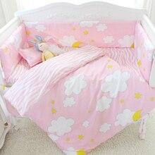 7 Pcs/sets cartoon crib cotton crib bumper baby cot sets baby bed protector child bedding set pillowcase duvet cover flat sheet