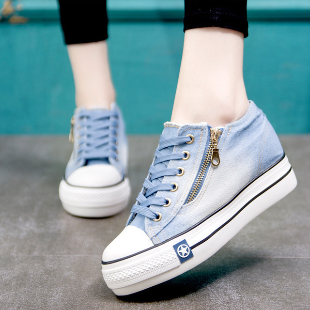 Ake Sia Classic Women Girl Fashion Casual Vintage Washed Denim Canvas Flat Platform Thicken Soled Lace-Up Plimsolls Shoes A155 4