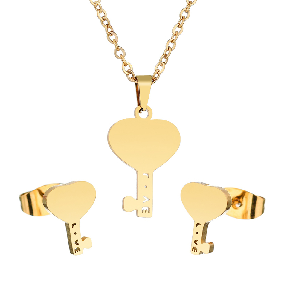 Earrings Jewelry-Set Necklace Gifts Stainless-Steel Lovers Women Gold-Color Heart And