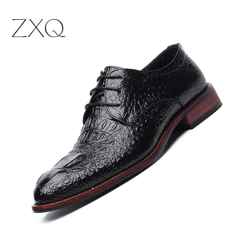 Marke Echtes Leder Männer Schuhe Krokoprägung Hand gemachte Freizeitschuhe Wohnungen Männer Business Oxfords Männliche Leder Schuhe