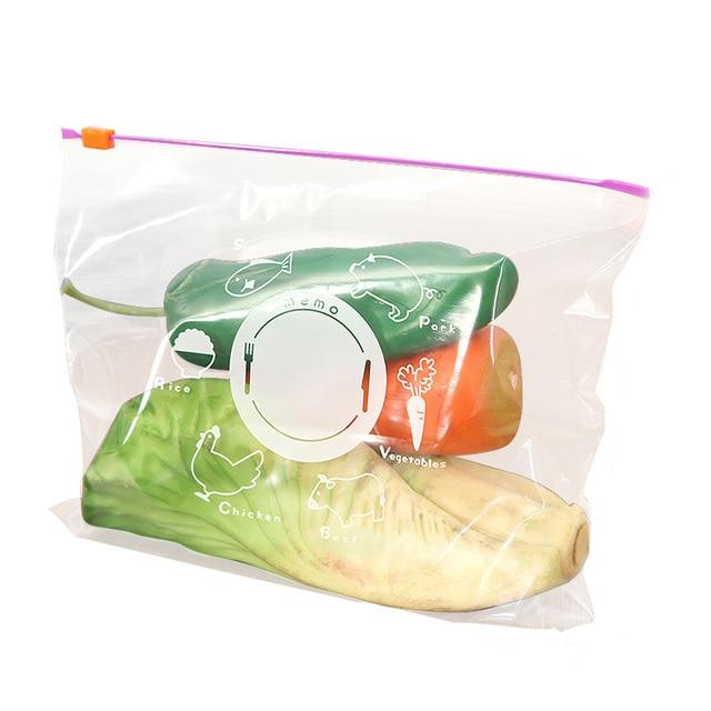 10pcs Set Food Saver Zip Lock Plastic Wrap Bags Reusable Vegetable Storage Kitchen Gadget