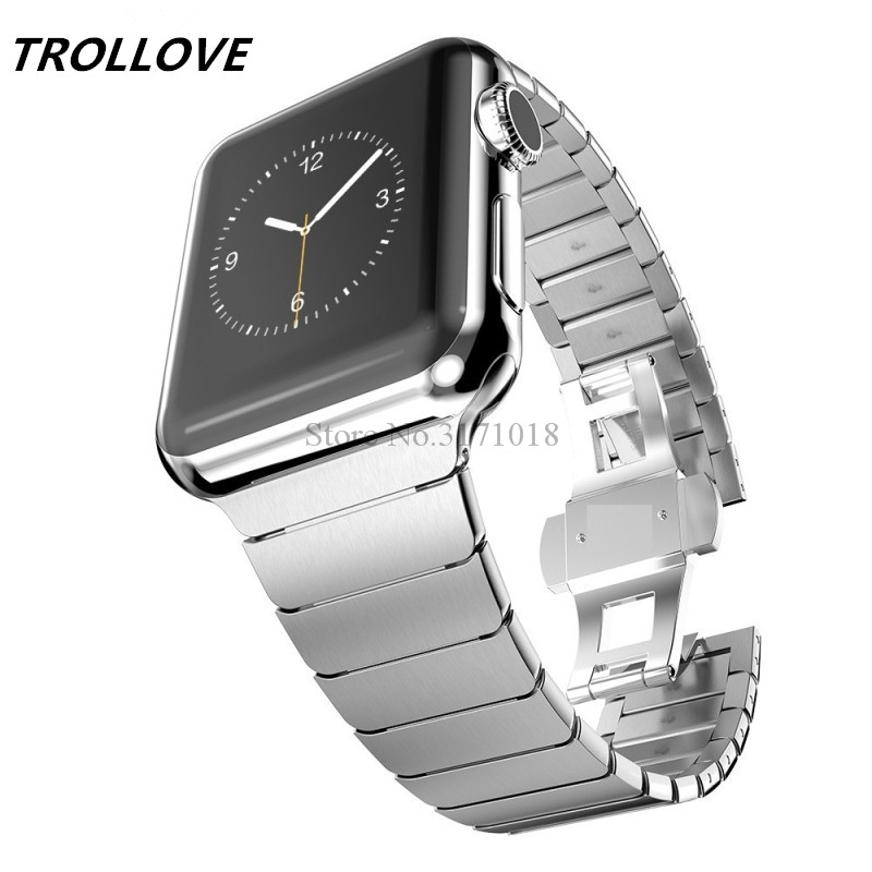 Luxury Stainless Steel Bracelet for Apple Watch band Butterfly Buckle Metal Strap 38mm/42mm Metal Link Strap Series 3 2 1 карта мира 1 20 000 000