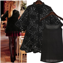 Sexy Black Lace Full Sleeve Casual Shirt and Cami Set Women O Neck Solid Color Top Clothing with Thin Vest Plus Size XL-4XL