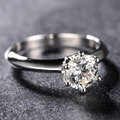 Test Positive Solitaire Classic 1CT Round Moissanite 9K Solid White Gold Engagement Wedding Ring Fine Jewelry Christmas Gifts