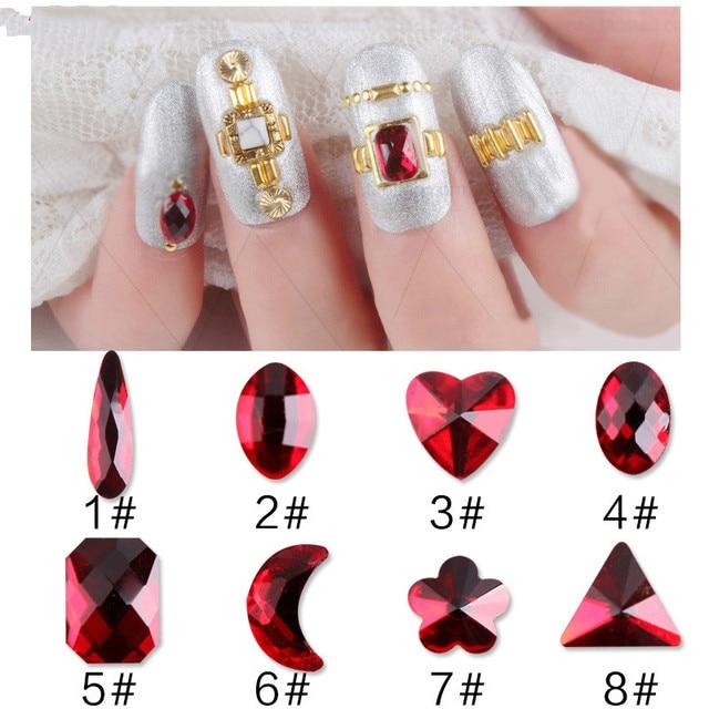 8Pcs Mixed Design 3D Nail Art Red Gem Nails Rhinestones Alloy DIY Decorations Jewelry
