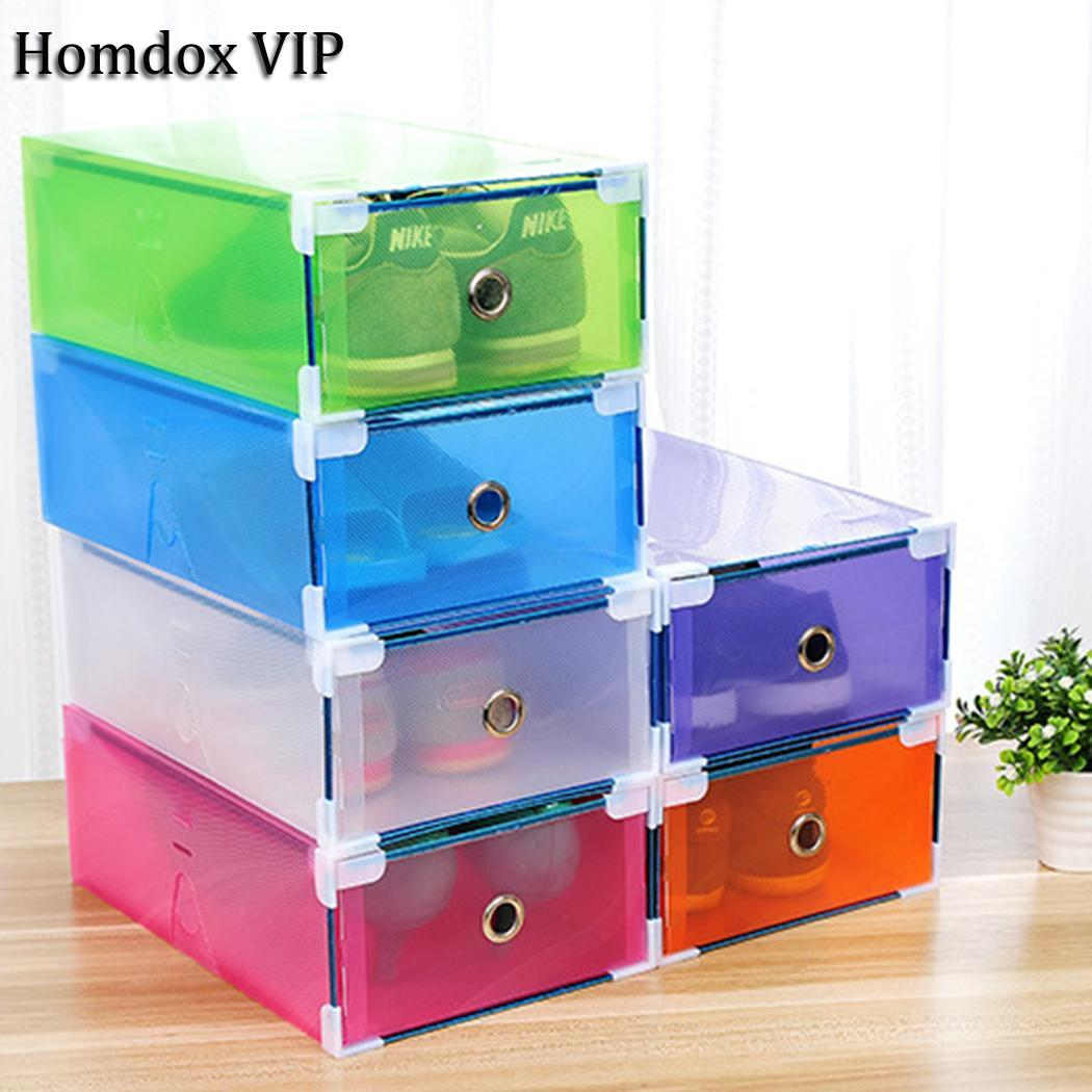 Shoe Rack Box Foldable Stackable Clear Small Plastic