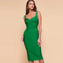 Wholesale 2019 New Summer Women Red and green Spaghetti Strap Fashion sexy celebrity cocktail party Bandage dress