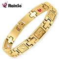 Rainso New Gold Mens Stainless Steel Charm Bracelets & Bangles Magnetic Bio Healthy Healing Bracelets For Men OSB-372GJB