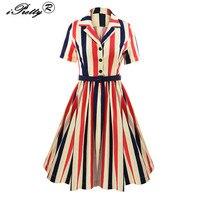 Spring Autumn Womens Striped Dress Vintage Short Sleeve Runway Rockabilly Audrey Hepburn Style Shirt Dress Work