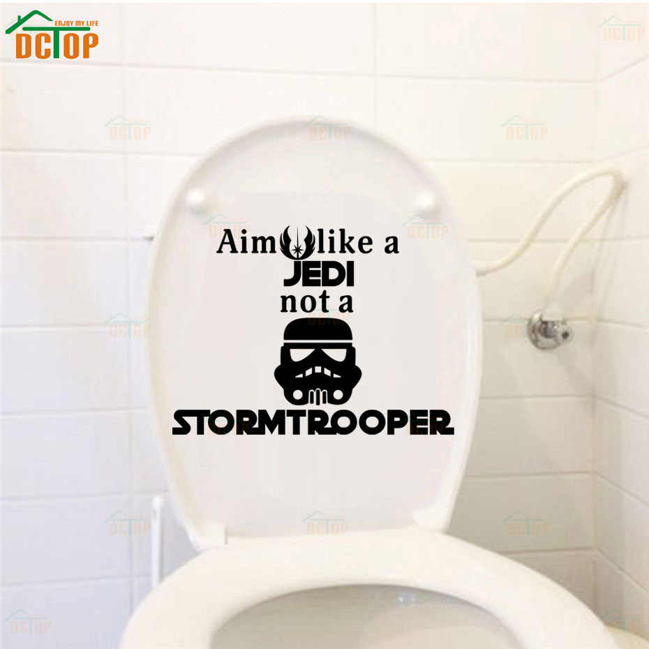 Funny storm trooper toilet wall poster seat decal star wars quote wc toilet stickers vinyl bathroom
