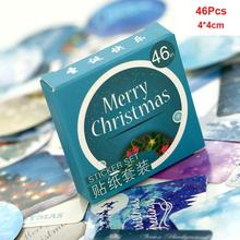 46pcs/box Winter Merry Christmas Sticker Xmas Gift Box Decoration Party Supplies DIY   Christmas Sticker Seal Label CMS3068