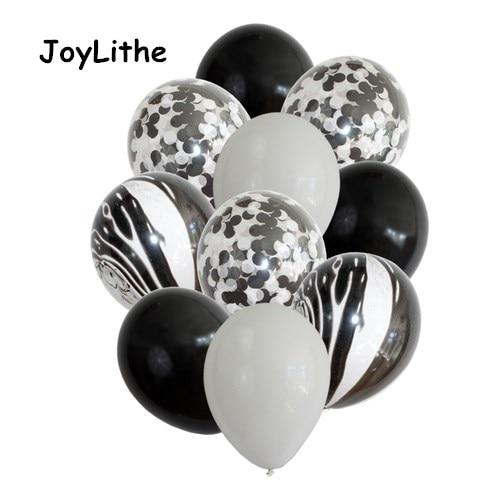 ᐂ12 16 piezas blanco y negro confeti globos ramo de Navidad Año ...