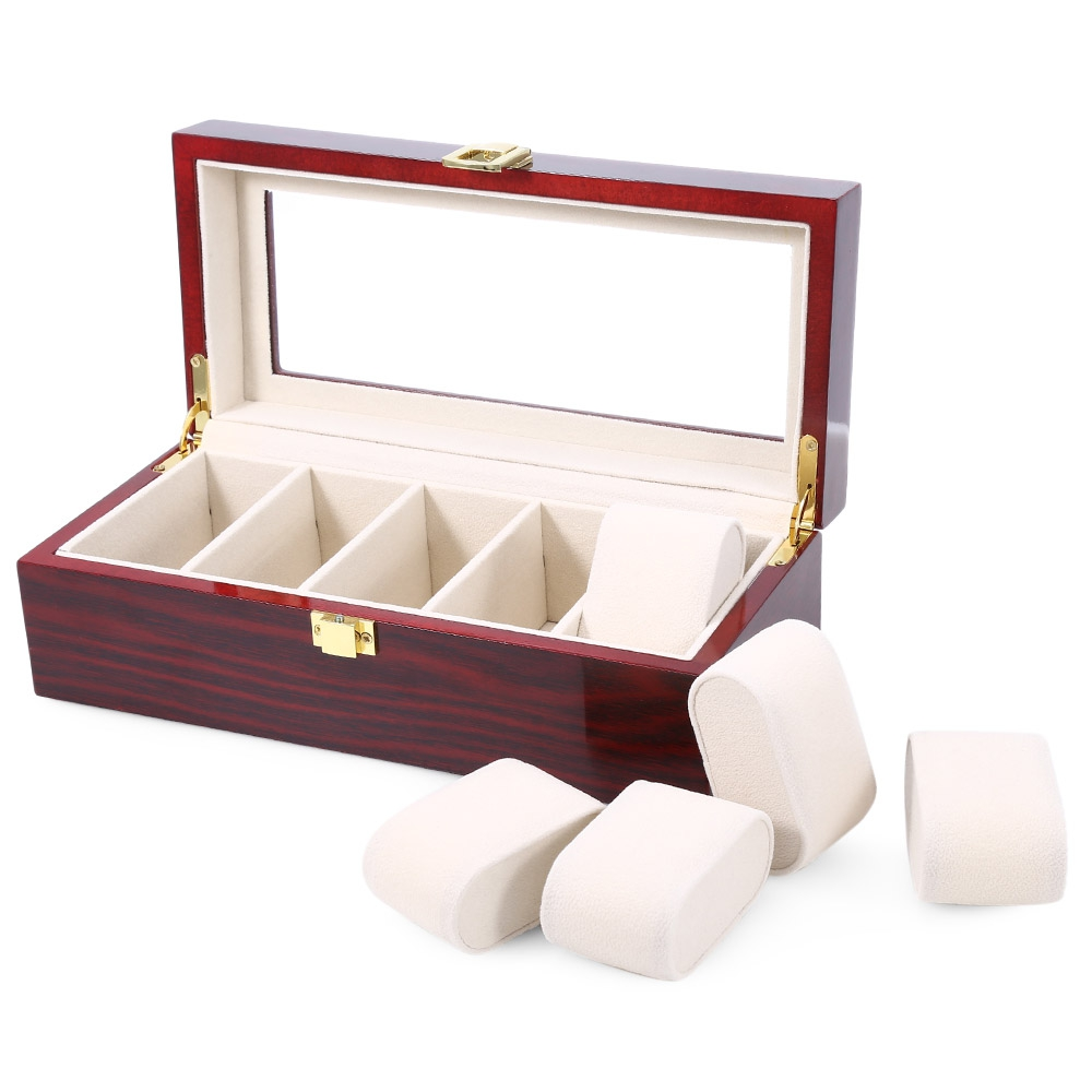 5 Grids Wooden Watch Display Box Piano Lacquer Jewelry Storage Organizer