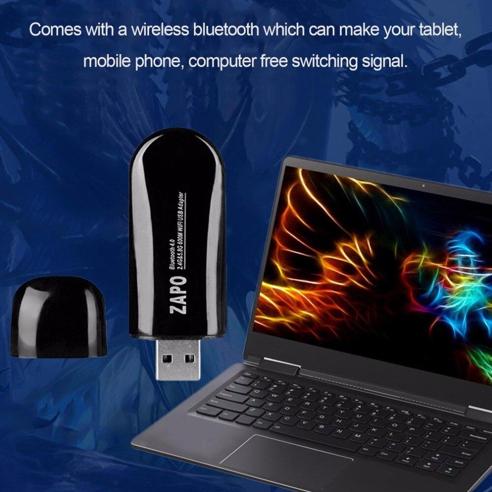 ZAPO Mini W67B 600 Mbps Bluetooth 4.0 double fréquence 2.4G-5.8G USB2.0 Ethernet Wi-Fi Dongle adaptateur sans fil carte réseau Wi-Fi