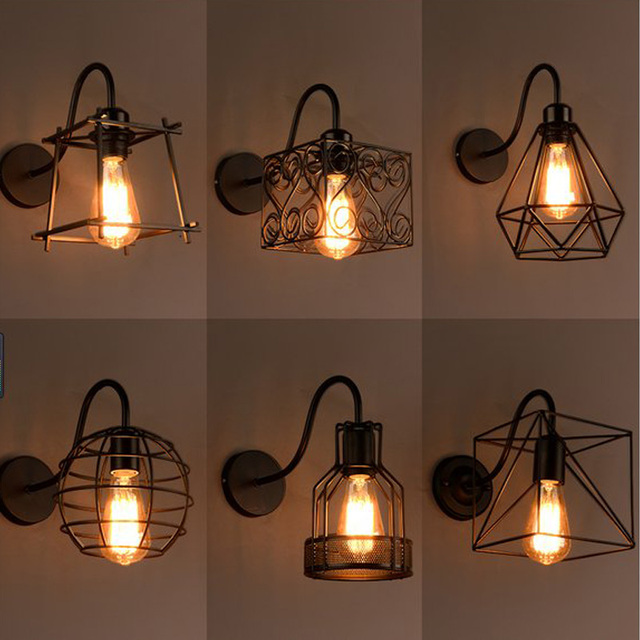 Vintage Industrial Metal Cage Led Wall Lamp Steel Wire Iron Wall ...