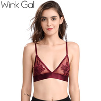 Wink Gal Sexy Women Plunge Bralette Embroidery Floral Bra Spaghetti Strap Brassiere Thin Breathable Lingerie W12234