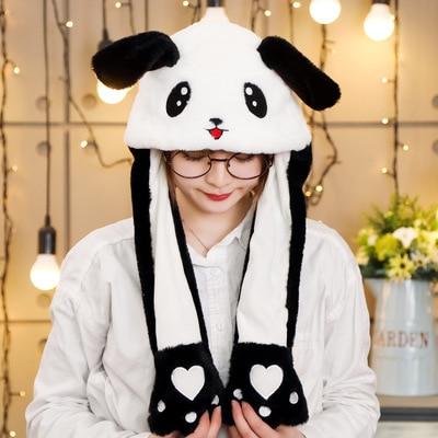 Новинка, Мультяшные шапки с подвижными ушками, милый Игрушечный Кролик, шапка с подушкой безопасности, Kawaii, забавная шапка для девочек, детская плюшевая игрушка, рождественский подарок - Цвет: B