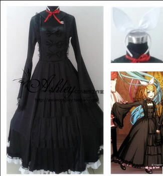 Free shipping VOCALOID Bad End Night RIN black dress Cosplay Costume