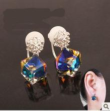 Лидер продаж корейские ювелирные изделия серьги клипсы с кристаллами