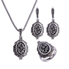 HENSEN Retro Antique Jewellery Black Rhinestone Necklace Earrings Ring Set Vintage Fashion Jewelry Sets For Women