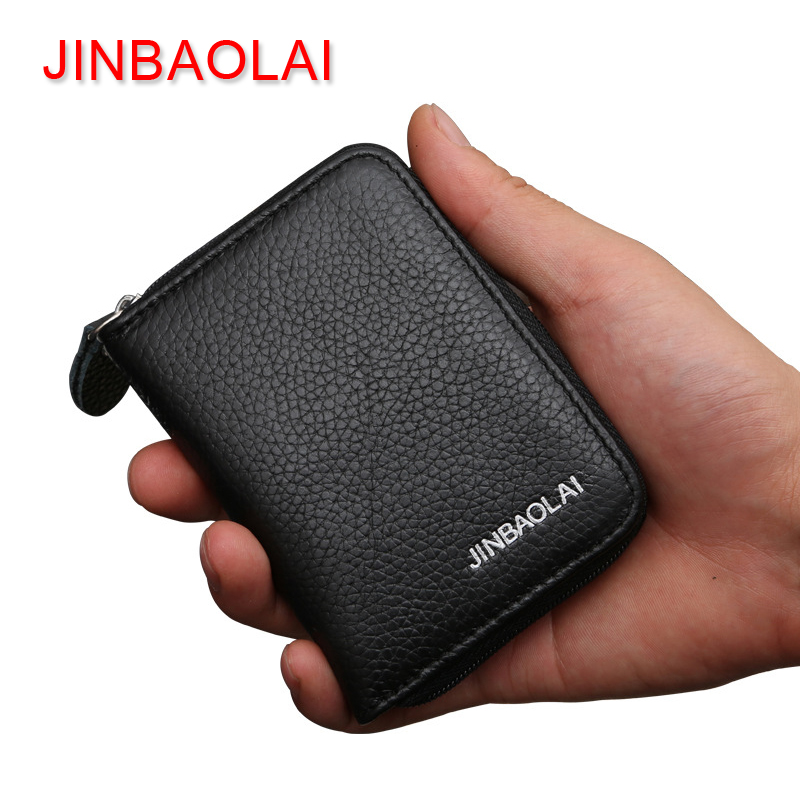 JINBAOLAI Brand Male Wallet Genuine Leather Men Wallets Zipper Short Purses Coin Pocket Soft Solid Small Wallet Mini Money Bag