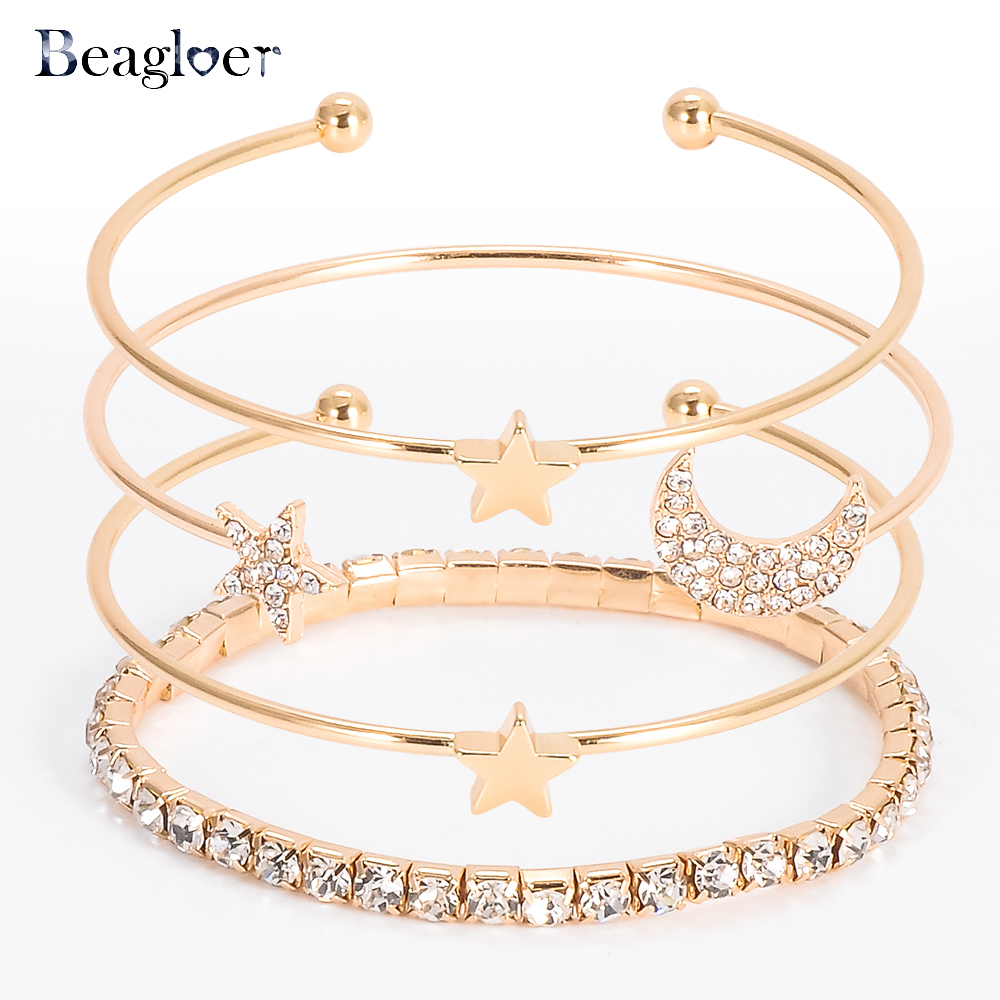 Beagloer Gold Color Clear CZ 4pcs/set Charm Bracelets & Bangles For Women Star With Moon Bangle Jewelry Wholesale Pulseras  ...