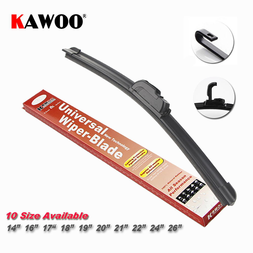 KAWOO Universal Car Wiper Blade J type Soft Frameless Bracketless Rubber Car Windshield Wipers 14 16 17 18 19 20 21 22 24 26inch