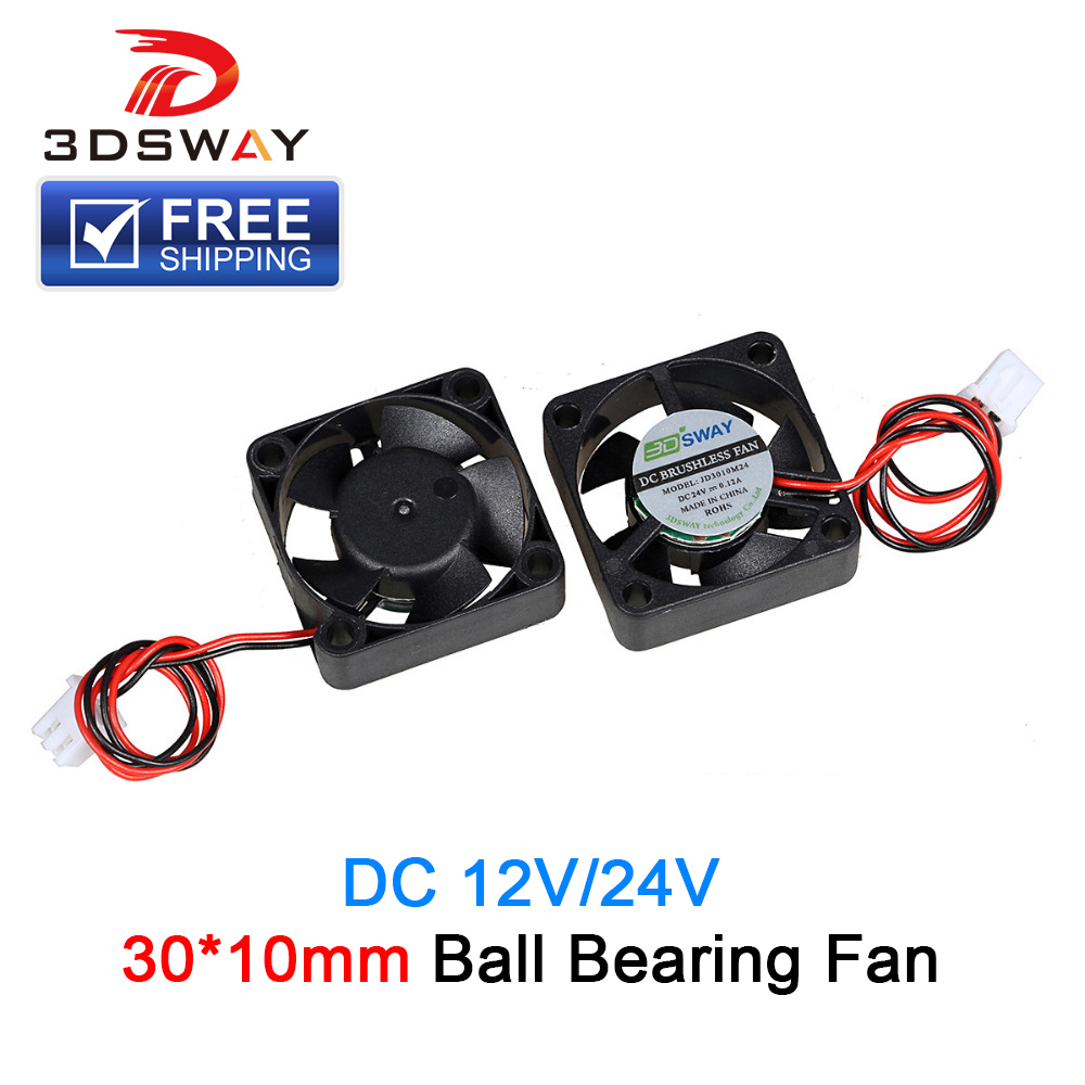все цены на 3DSWAY 3D Printer Parts Cooling Fan Ball Bearing Fan High Speed 10000RPM 30*30*10mm 12V 24V With XH2.54-2P Dupont Wires 150mm онлайн