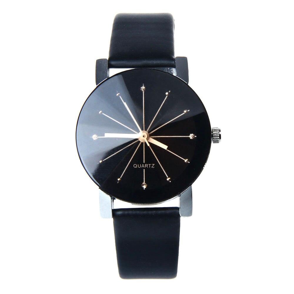 Роскошный Кварц Женщины Часы 2016 Мода часы женщины марка Черный Циферблат Часы ИСКУССТВЕННАЯ Кожа Наручные Часы Круглый Дело Reloj Pulsera