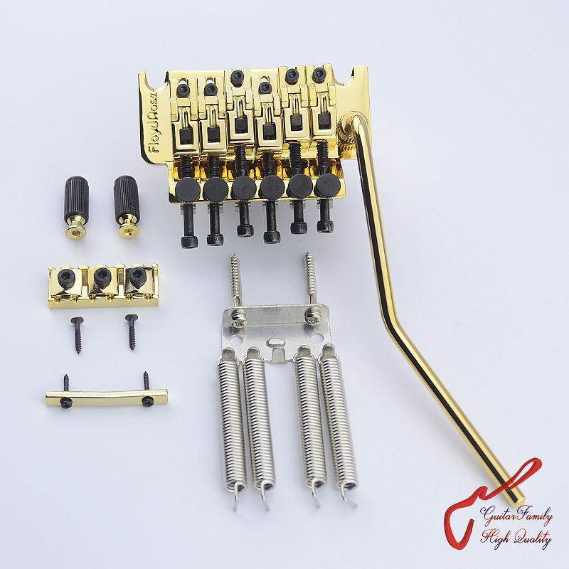 Genuine Floyd Rose 1000 Series Original Style Tremolo System Bridge FRT03000 Gold ( without original package ) MADE IN KOREA genuine original floyd rose 5000 series electric guitar tremolo system bridge frt05000 black nickel cosmo without packaging