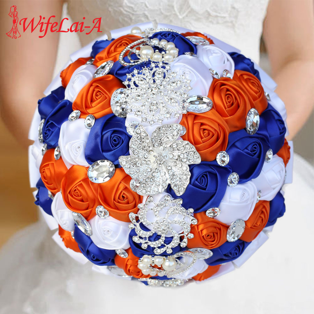 24CM Artificial Pearls Crystal Wedding Flowers Bridal Bridesmaid Bouquets Romantic Silk Ribbon Fake Rose Flower Bouquet W228