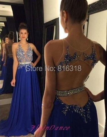 Vestido de fiesta azul brillante