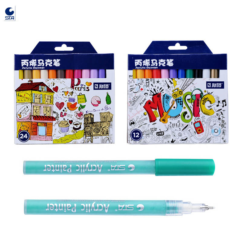 STA 1100 Acrylic Paint Pens Fine Point Tip Art Permanent Markers for Rock Painting Crafts Project Canvas Kid Arts Project Metal acrylic paint markers pens 24 colors permanent 0 5mm fine tip marker pens for glass painting rock wood stones canvas fabric