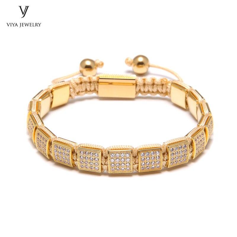 New High-end Colorful Women Adjustable Square Braiding Bracelets 8mm Square Beads Bracelet Pave Setting CZ Beads все цены