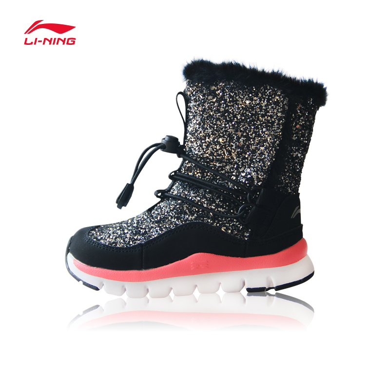 Li-Ning Young Children Shoes Snow Boots Winter Warm Walking Shoes Kids Non-slip Boys and Girls Boots YKAM008 2016 new winter kids snow boots children warm thick waterproof martin boots girls boys fashion soft buckle shoes baby snow boots