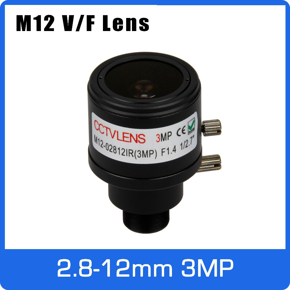 3Megapixel Varifocal CCTV Lens 2.8-12mm M12 Mount 1/2.7 inch Manual Focus and Zoom For 720P 1080P IP/AHD Camera Free Shipping