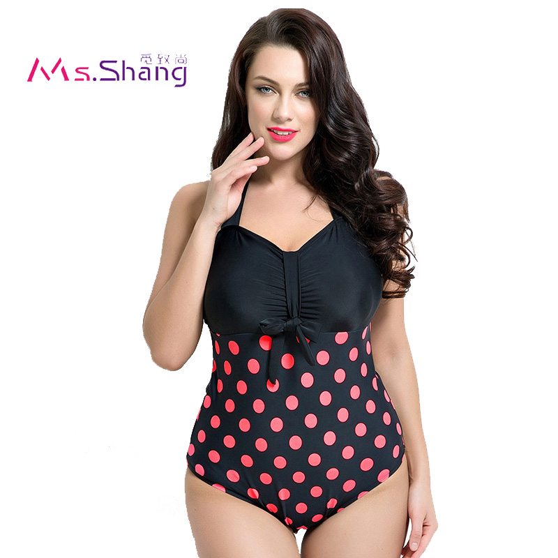 Monokini 2017 Women One Piece Swimsuit Sexy Swimwear Push Up Halter Top Beach Wear Ladies Dot Plus Size Swimwear 2XL-6XL Biquini black one piece swimwear women plus size swimsuit 2017 female push up monokini beach wear pareo beach one piece bodysuit h317