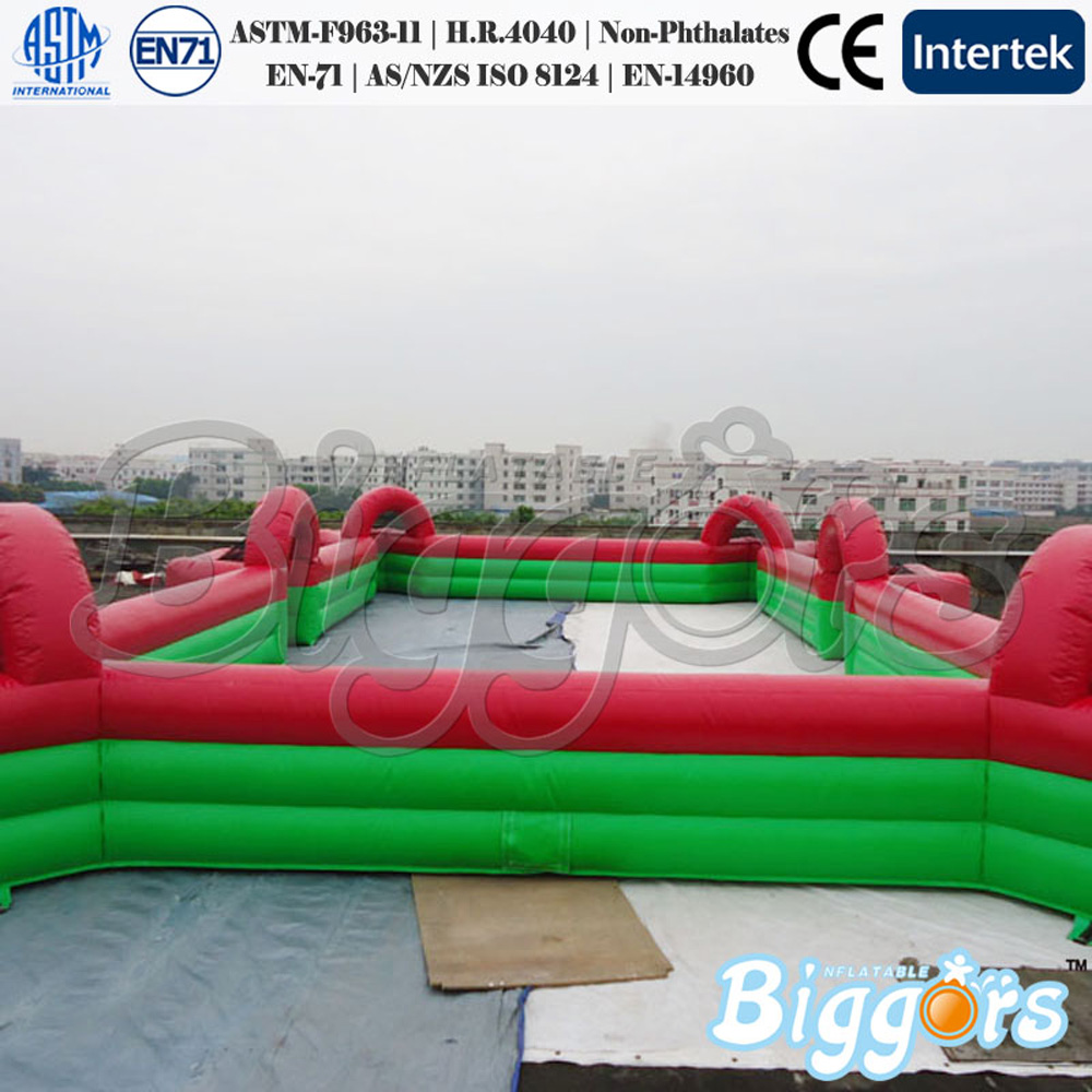 Soap inflatable football field for kids / inflatable soccer field without flooring from Biggors free shipping juegos inflables 16x8 meters inflatable soccer field football court with pvc material for kids
