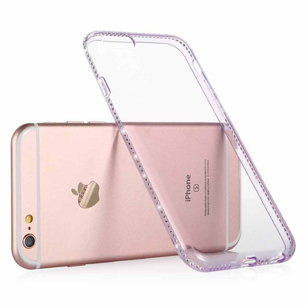 db6a527a804c2d ... Portefeuille For Coque Iphone 6 S Case Clear Protective Back Cover  Bling Diamond Glitter Frame for