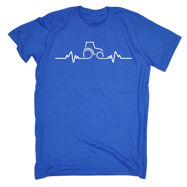 Tractor Pulse Heartbeat MENS T SHIRT Agriculture Funny Birthday Gift Present Him Style Vintage Tees Short Sleeve Shirt