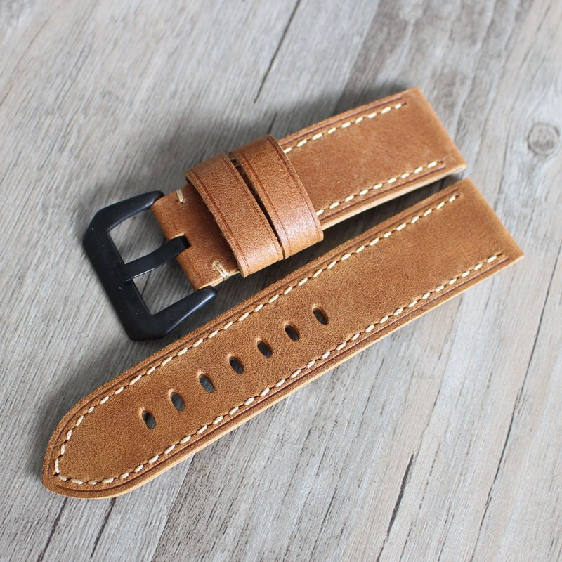 20mm 22mm 24mm luxury Genuine Leather Watch Strap Band Men Upscale for Mechanical watch Watchband Strap for Panerai Omega PAM111 24mm handmade black red stitched genuine calf leather watch strap band for deployment buckle watchband strap for panerai pam
