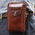 De los nuevos hombres genuino Vintage de cuero de vaca cinturón bolsa monedero Fanny Pack de cintura Bag para celular / teléfono móvil / teléfono piel cubierta de la caja