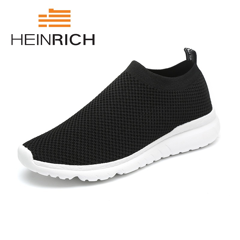 HEINRICH Summer New Casual Mesh Men Sneakers Breathable Leather Fashion Shoes Comfortable Soft Hand Made Men Shoes Tenis Preto