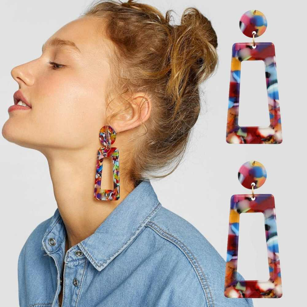 Free Fan 2019 Fashion ZA Acrylic Bohemian Earrings For Women Big Tortoiseshell Acetate Vintage Leopard Earrings Jewelry Brincos
